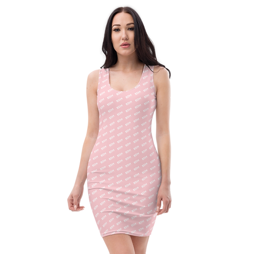 Body Con Dress - Baby Pink EDM Journey to Freedom Pattern Print - White