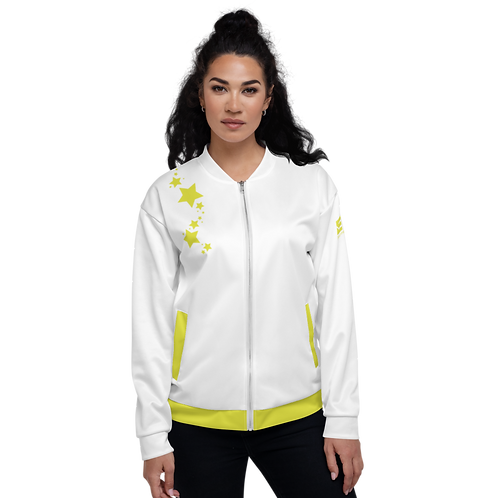Women's Unisex Fit Bomber Jacket - EDM J to F - White Lime Yellow Star