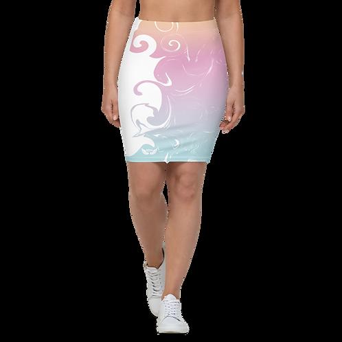 Women's Pencil Skirt-EDM J to F Orange/Pink/Blue Gradient Swirl - White