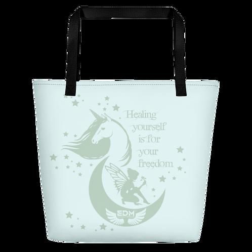 Beach Bag - Unicorn Fairy Sage - Ice Blue