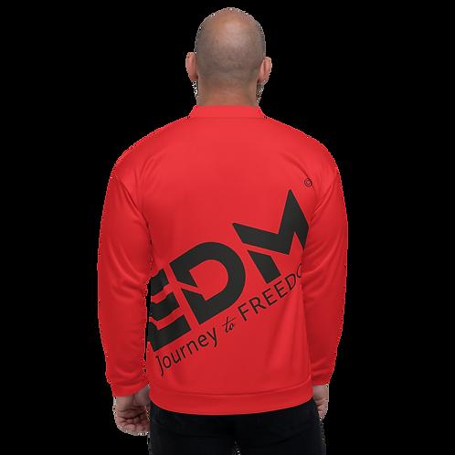 Men's Unisex Fit Bomber Jacket - EDM Journey to Freedom Red / Black