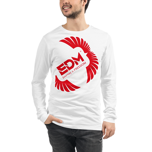 Mens Unisex Long Sleeve T-shirt - EDM J to F Square Wings Logo Red - White