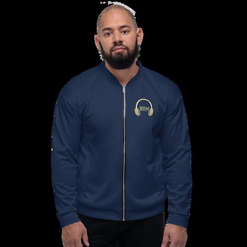 Mens Unisex Fit Bomber Jacket - EDM J to F - Navy Gold DJ Style