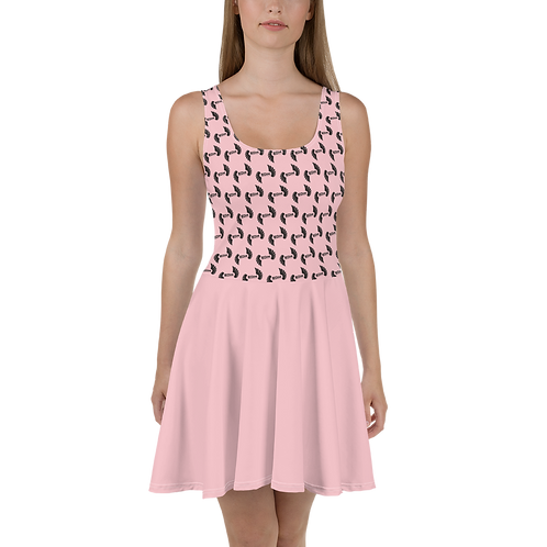 Baby Pink Skater Dress EDM Journey to Freedom Top Pattern Print - Black