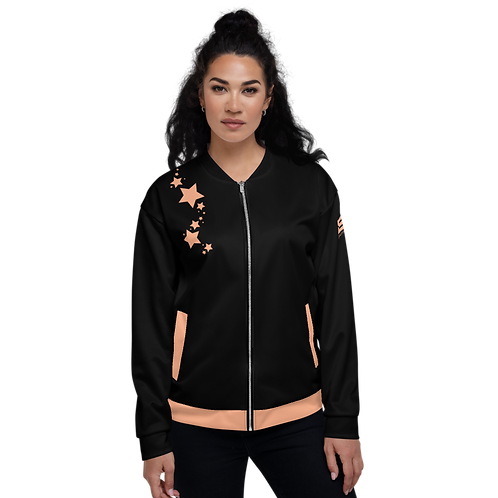 Women's Unisex Fit Bomber Jacket - EDM J to F - Black Peach Star