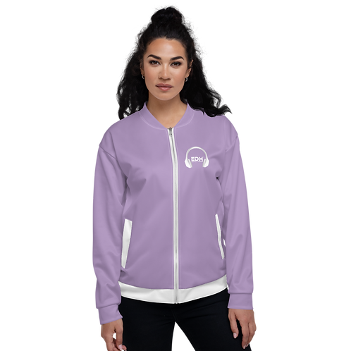 Women's Unisex Fit Bomber Jacket - EDM J to F - Purple / White DJ Style