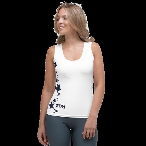 Women's Vest - EDM J to F Navy Star - White