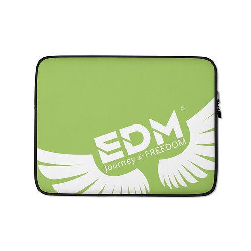 "Green Laptop Sleeve - 13"", 15"" - EDM Journey to Freedom Print - White"
