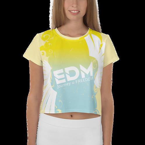 Women's Crop Tee - Gradient Yellow/Blue/Lemon - EDM J to F Large Logo White