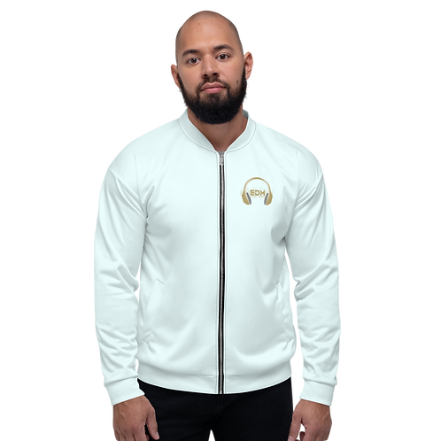 Mens Unisex Fit Bomber Jacket - EDM J to F - Ice Bue / Gold DJ Style