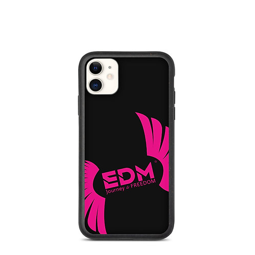 Biodegradable iPhone case Black - EDM Journey to Freedom Print - Hot Pink