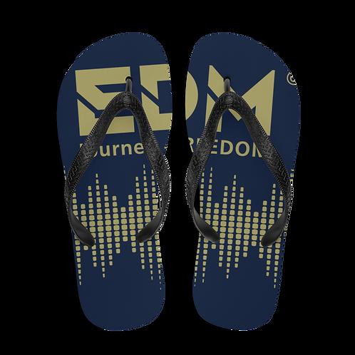 Flip-Flops Navy EDM J to F Sound Bars Print - Gold