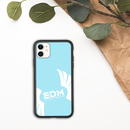 Biodegradable iPhone case Sky Blue - EDM Journey to Freedom Print - White