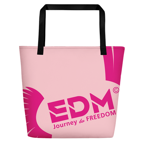 Beach Bag - Baby Pink EDM Journey to Freedom Print - Hot Pink