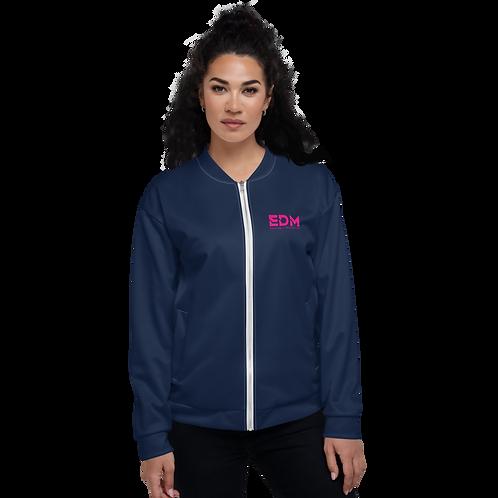 Women's Unisex Fit Bomber Jacket - EDM Journey to Freedom Navy / Hot Pink
