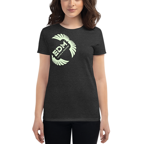 Women's short sleeve T-shirt - EDM J to F Mint Square Wings - Dark Heather Grey