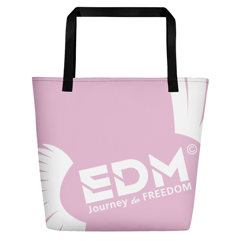 Beach Bag - Pink EDM Journey to Freedom Print - White