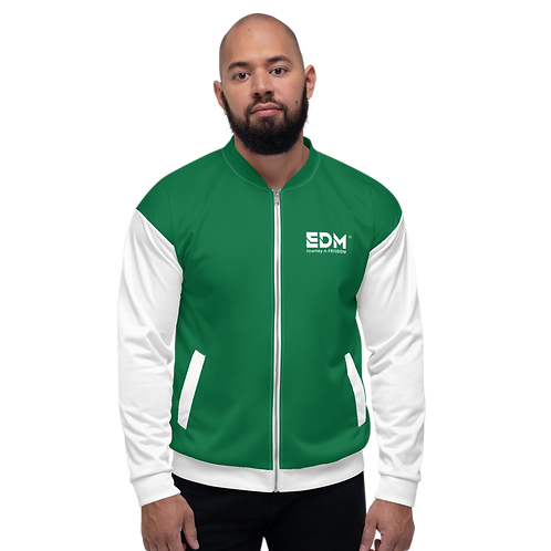 Mens Unisex Fit Bomber Jacket - EDM Journey to Freedom White / Emerald Green