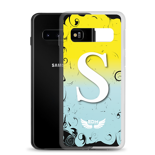 Samsung Case Yellow / Blue / White - EDM J to F Print - Personalised Initial