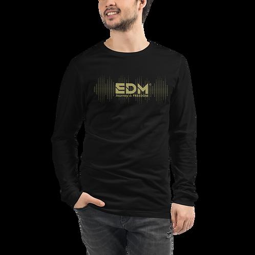 Mens Long Sleeve T-shirt - EDM J to F Sound Bars Logo Gold - Black