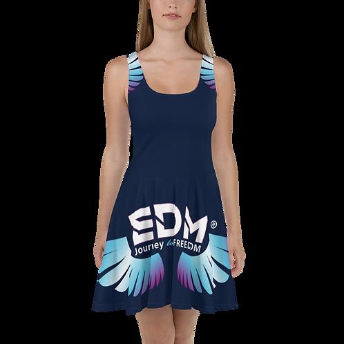 Womens Skater Dress - EDM J to F Multi Logo - Navy