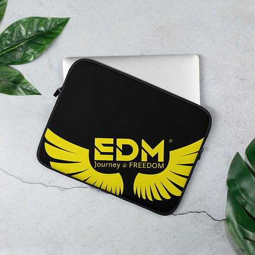 "Black Laptop Sleeve - 13"", 15"" - EDM Journey to Freedom Print - Yellow"