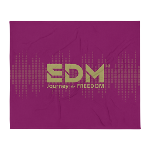 Fleece Throw Blanket - 50 x 60cm - EDM J to F Sound bars - Plum / Gold