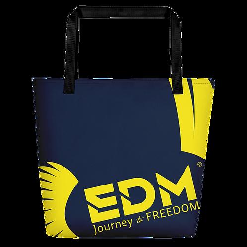 Beach Bag - Navy EDM Journey to Freedom Print - Yellow
