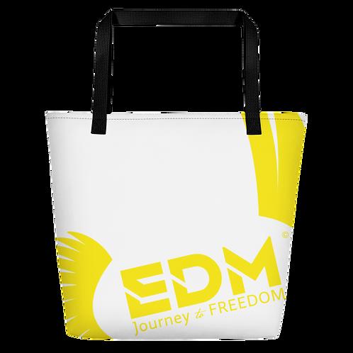 Beach Bag - White EDM Journey to Freedom Print - Yellow