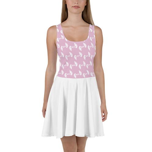 Skater Dress EDM J to F Top Pattern Print White - Pink