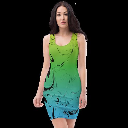Body Con Dress - EDM J to F Green/Blue Gradient Swirl - Black