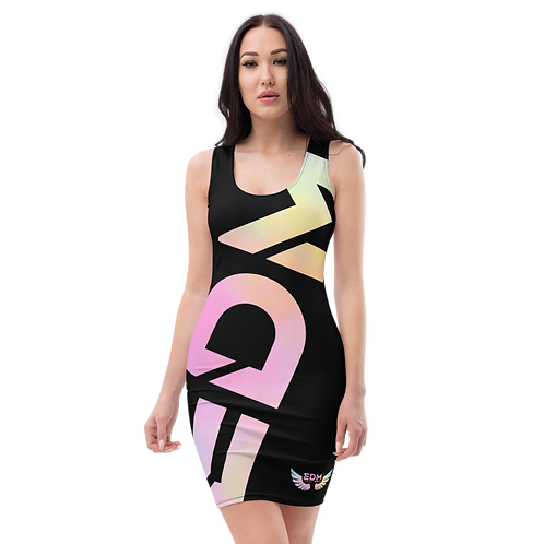 Body Con Dress - EDM J to F Logo Tye Dye Pastels -Black