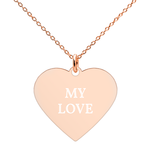 Engraved Silver / Rose Gold Heart Necklace - 'MY LOVE'