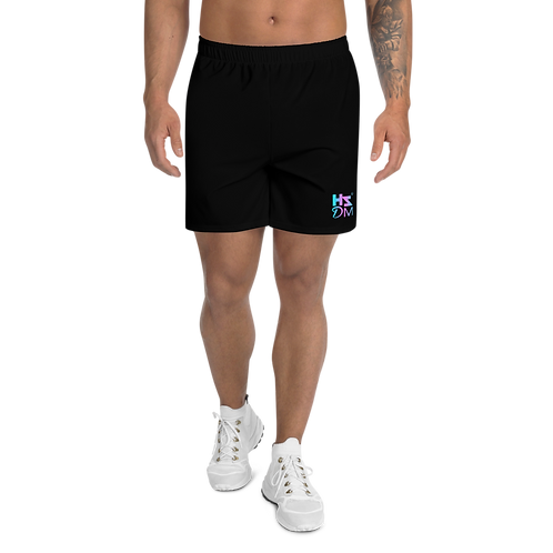 Men's Athletic Long Shorts - HS Design & Music Logo Multi - Black