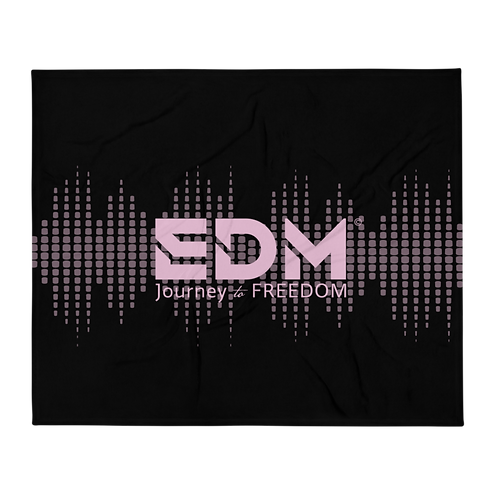 Fleece Throw Blanket - 50 x 60cm - EDM J to F Sound bars - Pink / Black