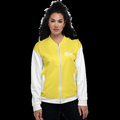 Womens Unisex Fit Bomber Jacket - EDM Journey to Freedom White / Yellow