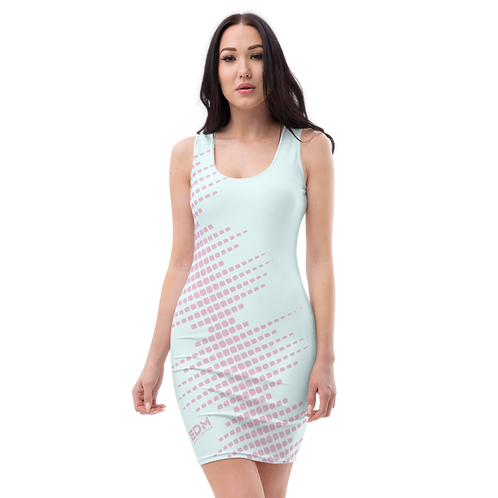 Body Con Dress - EDM J to F Sound Bars Pink - Ice Blue