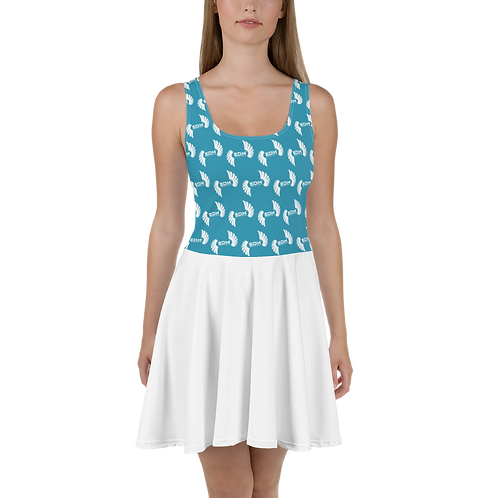 Skater Dress EDM J to F Top Pattern Print White - Teal / White
