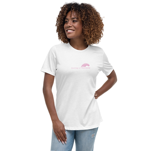 Women's T-Shirt - White EDM Journey to Freedom Text Print - Pink