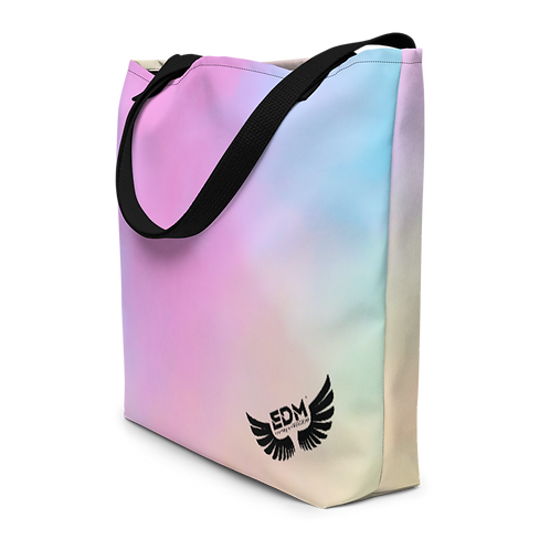Beach Bag - Tye Dye Pastels- EDM J to F Logo - Black