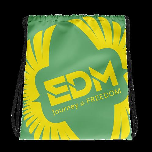 Green Drawstring Bag - EDM Journey to Freedom Large Print - Yellow
