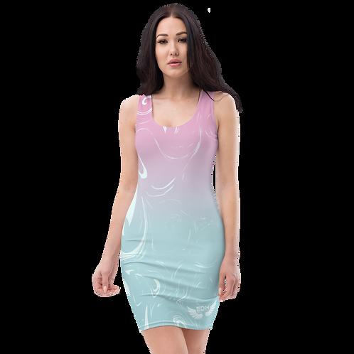 Body Con Dress - EDM J to F Pink/Blue Gradient Swirl - Ice Blue