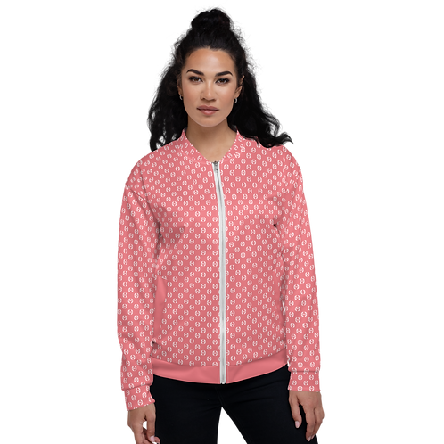 Women's Unisex Fit Bomber Jacket - EDM Journey to Freedom  Pattern Coral / White
