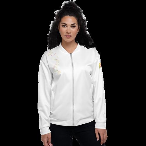 Women's Unisex Fit Bomber Jacket - EDM J to F Rainbow Star - White