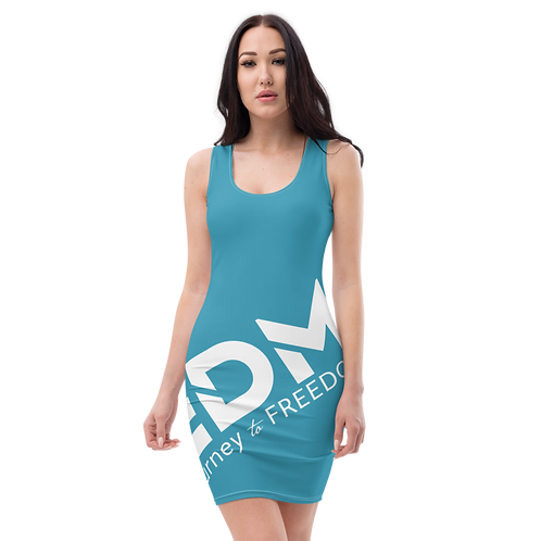 Body Con Dress - Teal EDM Journey to Freedom No wings Print - White