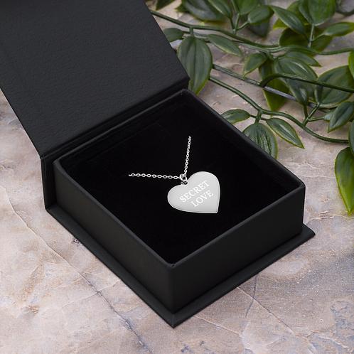 Engraved Silver / Rose Gold Heart Necklace - 'SECRET LOVE'