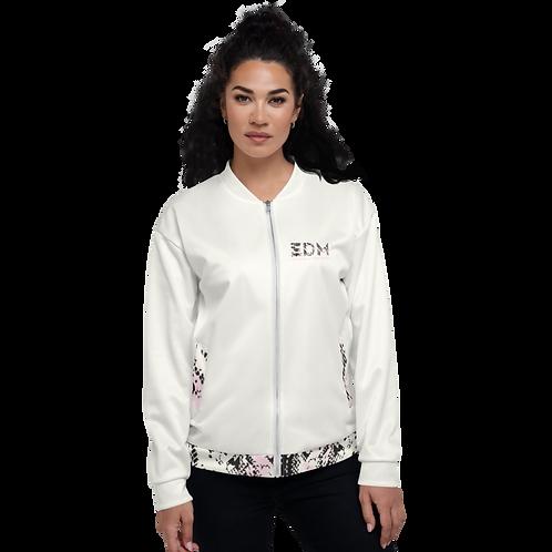 Women's Unisex Fit Bomber Jacket - EDM J to F Snake Print - Cream