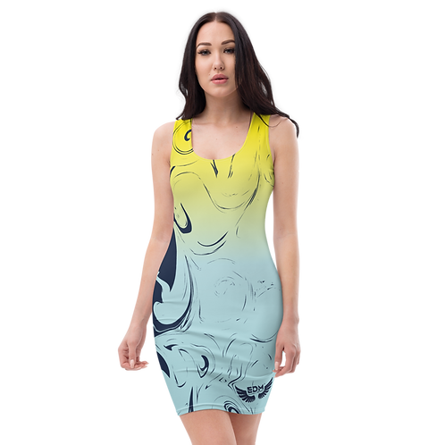 Body Con Dress - EDM J to F Yellow/Blue Gradient Swirl - Navy