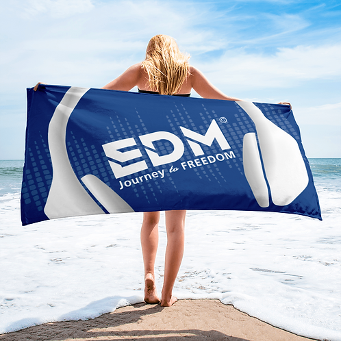 Beach / Bath Towel - EDM J to F Headphones White - Royal Blue