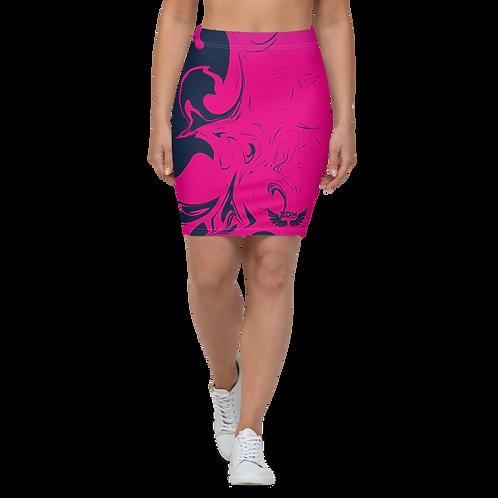 Women's Pencil Skirt-EDM J to F Hot Pink Swirl - Navy